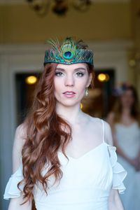 Peacock Feather Tiara With Crystal Edge