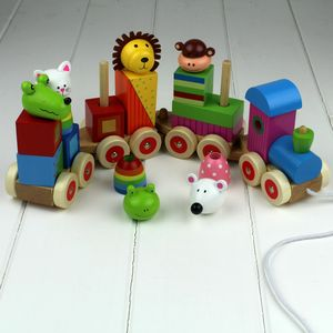 Hand Painted Wooden Animal Puzzle Train - toys & games