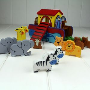 Hand Painted Wooden Noah's Ark - religious christening gifts