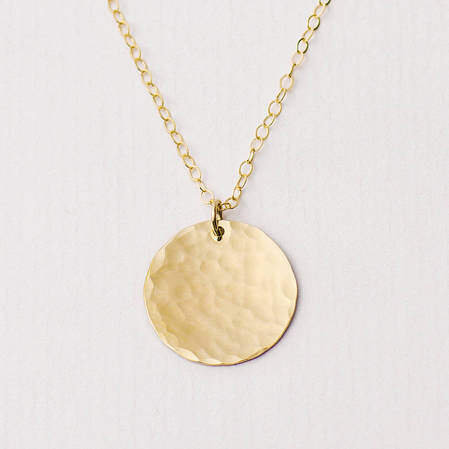 personalised hammered gold disc necklace by minetta ...