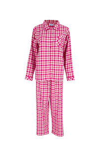 Brushed Cotton Pink Check Flannel Ladies Pyjamas