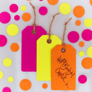 Neon Pink, Orange And Yellow Luggage Gift Tags - place cards