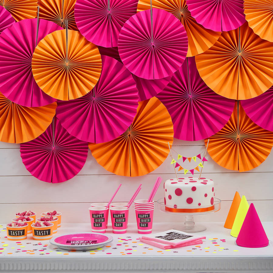 neon pink circle fan party decorations by ginger ray. Black Bedroom Furniture Sets. Home Design Ideas