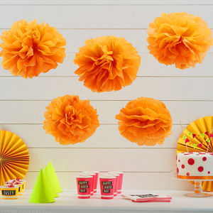 Neon Orange Tissue Paper Pom Poms