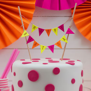 Neon Happy Birthday Cake Bunting Topper - food & drink