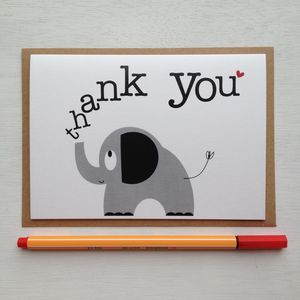 Elephant 'Thank You' Card With Elephant Sticker - cards sent direct