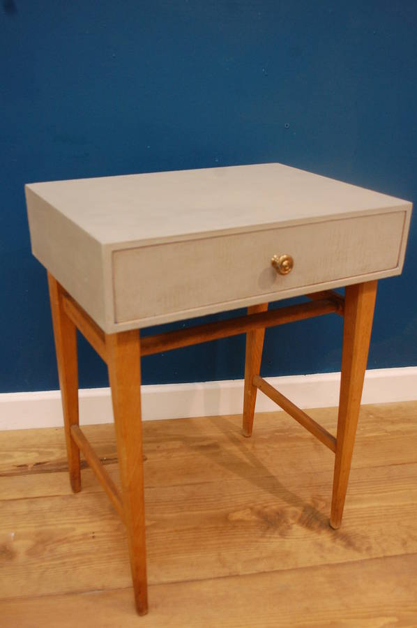 Mid Century Modern Grey Painted Bedside Table By