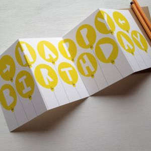 Grey Or Yellow Balloon Concertina 'Happy Birthday' Card