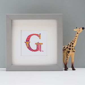 Framed Animal Initial Painting