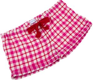 Pink And Red Check Sleep Shorts For Teenagers