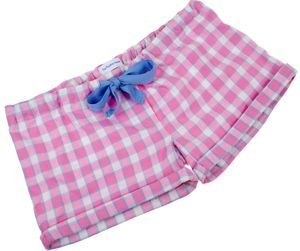 Pale Pink And Blue Check Sleep Shorts For Teenagers