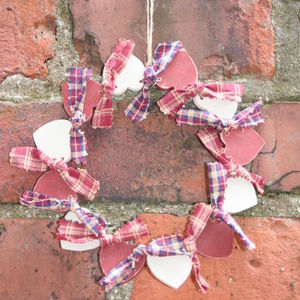 Handmade Wooden 12 Heart Wreath - flowers