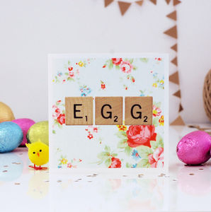 Floral Print Scrabble Easter Card