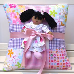 Bright Patchwork Name Cushion And Rag Doll - nursery cushions
