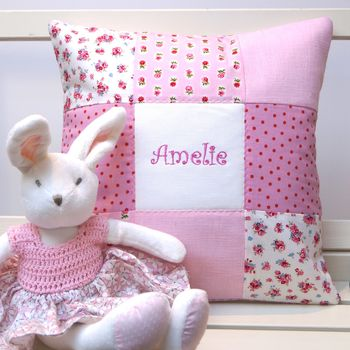 Sugar Plum Name Cushion And Toy Rabbit
