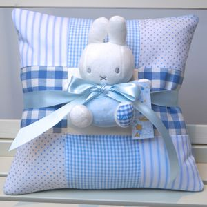 Blue Nursery Name Cushion And Miffy Gift Set - cushions