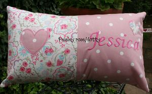 Handmade Embroidered Personalised Cushion - baby's room