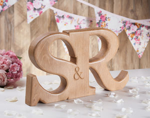 Carved Oak Wedding Letters