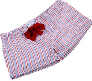 Pale Blue And Red Stripe Sleep Shorts For Teenagers