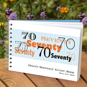 Personalised Mens 70th Birthday Guest Book