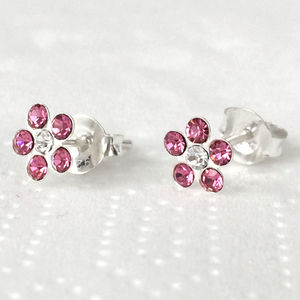 Sterling Silver And Crystal Flower Earrings - earrings