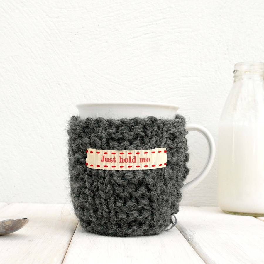 Personalised Knitted Mug Cosy Charcoal Grey
