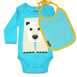 Body Suit And Bib Polar Bear - babygrows