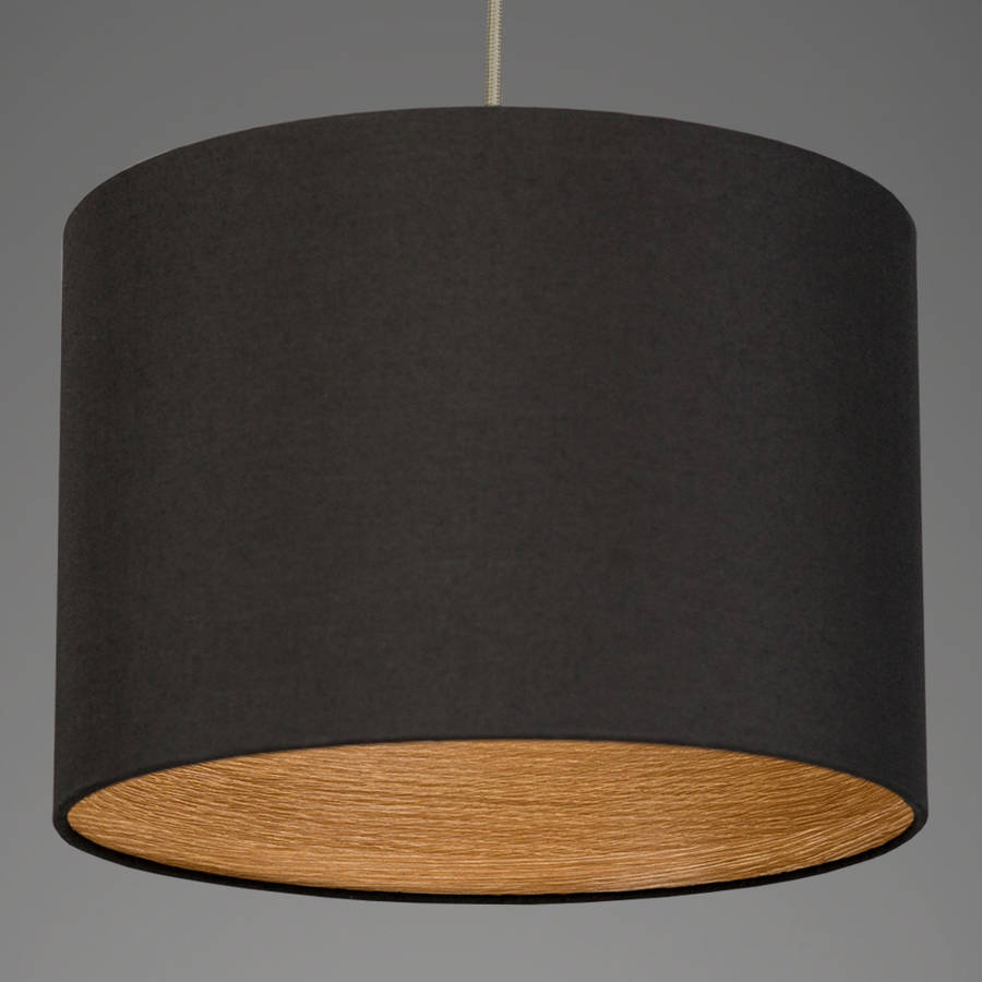 Oak Wood Effect Drum Lamp Shade 40 Colours