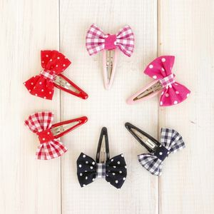 Bow Hairclip Gingham And Polka Dot