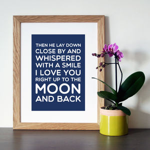 'Moon And Back' Quote Print - home sale
