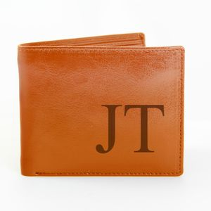 Personalised Large Initials Brown Wallet - wallets