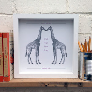 Personalised Wedding Gift; Kissing Giraffes Print - view all sale items