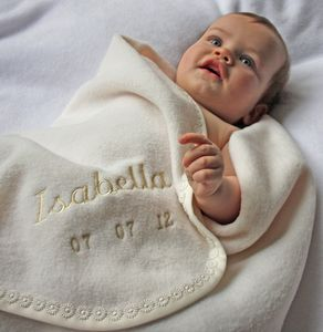 Personalised Daisy Trim Christening Shawl - blankets, comforters & throws