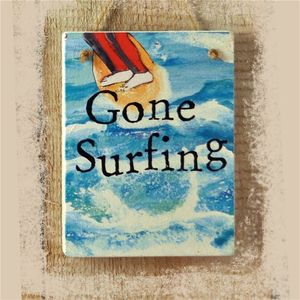 Gone Surfing Hanging Sign - art & decorations
