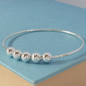 50th Birthday Handmade Silver Bangle - jewellery for women