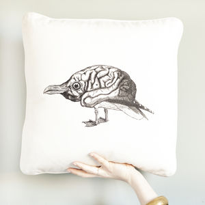 Bird Brain Screen Printed Cushion - cushions