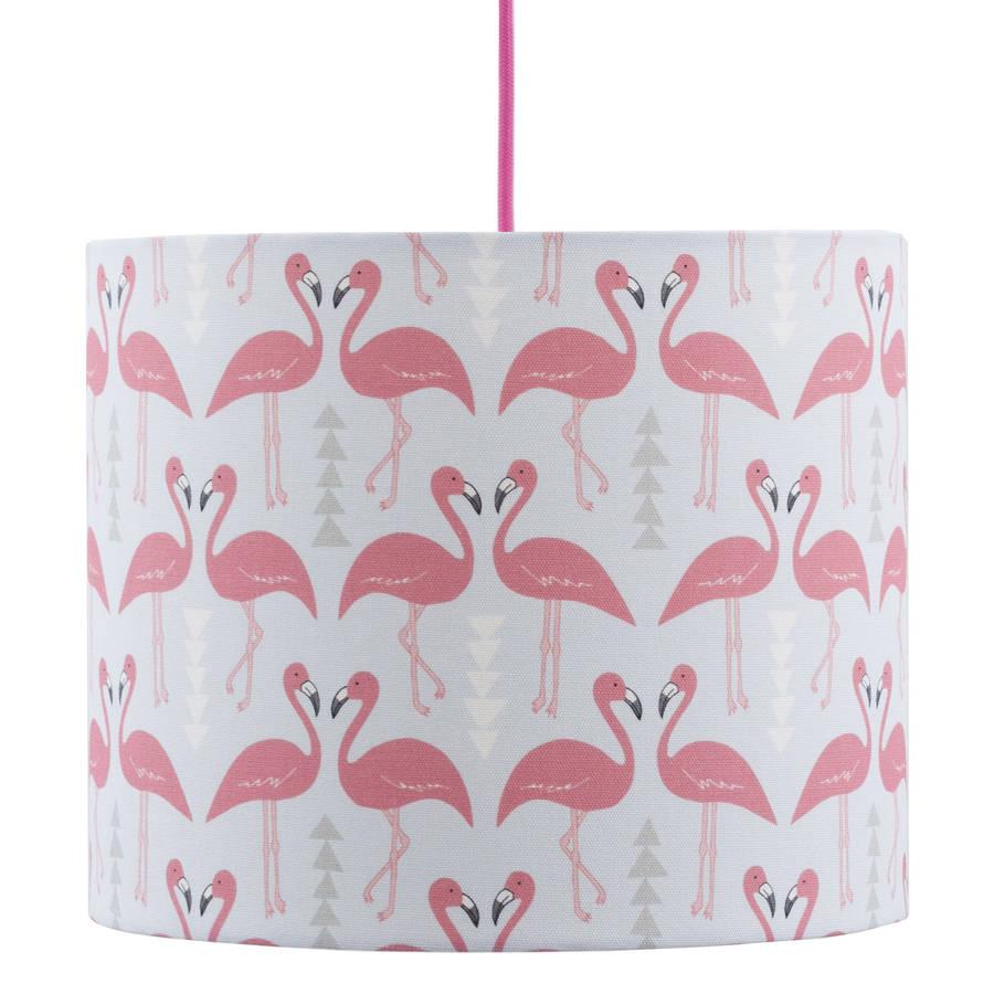 A Handmade Flamingo Flourish Lamp Shade, Ice Blue