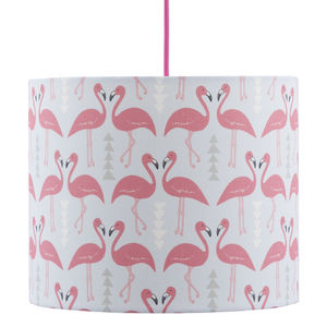 A Handmade Flamingo Flourish Lamp Shade, Ice Blue - lighting