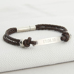 Teenage Boy's Personalised Leather ID Bracelet - christening jewellery
