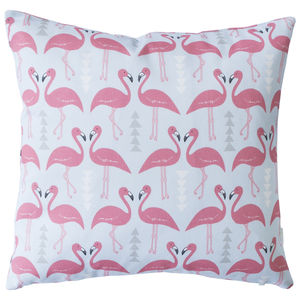 A Flamingo Flourish Cushion, Ice Blue