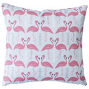 A Flamingo Flourish Cushion, Ice Blue, Mini Or Medium