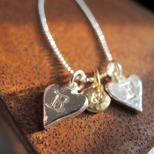 Sterling Silver Alphabet Heart Charms - necklaces & pendants