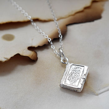 Polished Silver Book necklace