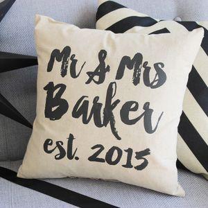 Personalised 'Writing' Wedding Cushion