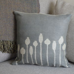Poppy Seed Head Linen Cushion