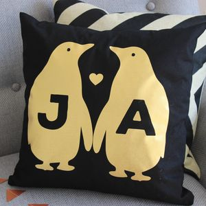 Personalised Black Gold Metallic Penguin Cushion - bedroom