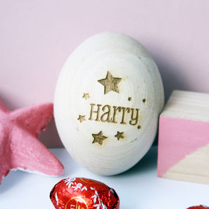 Personalised Star Name Wooden Egg