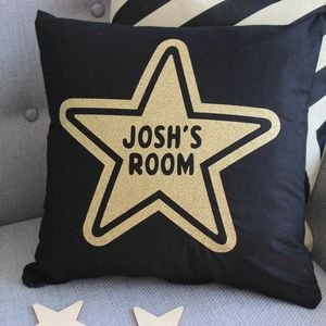 Personalised Childs Room Star Glitter Cushion - cushions