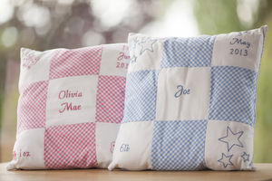 Personalised Hand Embroidered Baby Cushion - soft furnishings & accessories