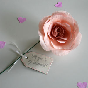 Will You Be My Bridesmaid Paper Rose - wedding favours